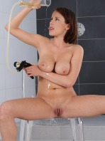 Piss play and drinking for stunning busty brunette